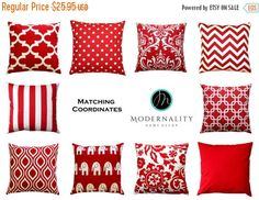 SALE Decorative Pillows, Lipstick Red Euro Sham, Red Pillow Cover, 26x26 Zippered Pillow, Large Cushion Cover, Red Bed Pillows, Red Throw Pi