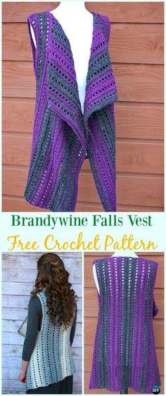 Crochet Brandywine Falls Vest Free Pattern - #Crochet; Women #Vest; Free Patterns