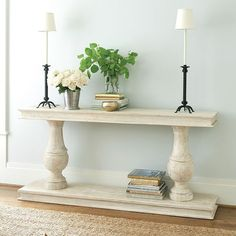 Nice and clean: Ballard Designs Andrews Serving Table DIY Entryway Console Table, Entry Tables, Sofa Tables, Entryway Decor, Console Tables, Dining Tables, Entrance Table, Entrance Foyer, Styling A Buffet