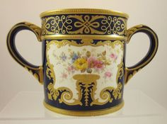 ROYAL CROWN DERBY antique c.1891 Loving Cup TIFFANY & Co. handpainted. 995 Dollars USD