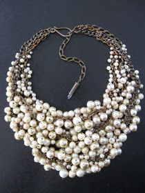 chunky pearl necklace, handmade pearl necklace