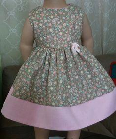 "Doll Clothes-Handmade-American Girl Dolls-Fits 18""-Flowers & Pink Dress. #Handmade"
