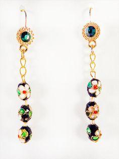 1364+ - Cloisonne earrings, cloisonne jewelry, cloisonne, black cloisonne, floral cloisonne, floral earrings, emerald green crystal, dangle by EarringsBraceletsEtc on Etsy