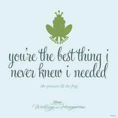 """You're the best thing I never knew I needed."" - The Princess and the Frog"