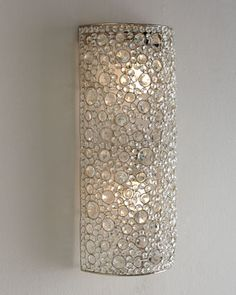 "almost looks like bubbles from far away. Great Wall sconce for a remodel. ""Scattered Crystal"" Sconce by Four Hands at Horchow."