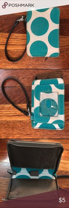 Thirty-one Wristlet Wallet Polkadot wallet with removable wrist strap. 5 1/2 x 3 1/2 inches. Good condition, barely used. Thirty-one Bags Wallets