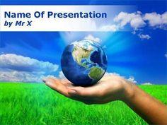 Modèle Powerpoint Une Main Portant la Terre
