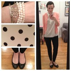 OOTD | spots are still on the mind (Taken with Instagram)  Sweater, J. Crew  Blouse, J. Crew (similar)  Pants, J. Crew  Shoes, J. Crew