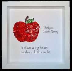 20 creative christmas gifts for teachers from kids diy thank you teacher button apple personalised teacher gift button art framed teacher gift teacher apple thank you gift red apple solutioingenieria Choice Image
