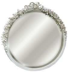 Roses and Ribbon Round Beveled Wall Mirror in Old World White Finish