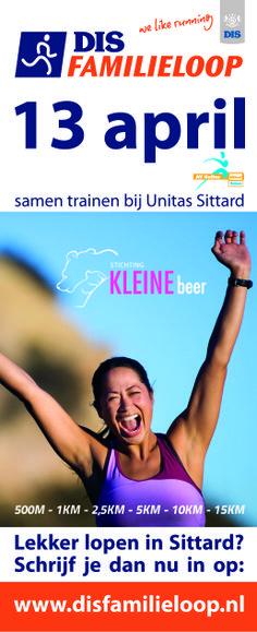 Banner DIS familieloop op 13 april 2014.; 5km, 10km, 15km hardlopen. 15km wandelen.