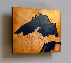 Copper Metal Map Art of Lake Superior 5x7 by CopperLeafStudios, $75.00
