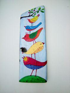 ptaszki multikolor- pracownia na deskach