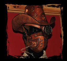 steampunk cowboy headgear by Lagueuse on DeviantArt Steampunk Dress, Steampunk Fashion, Space Cowboys, Blue Highlights, Steampunk Accessories, Reference Images, Dieselpunk, Headgear, Westerns