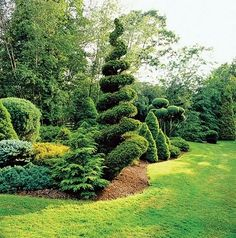 At their estate in northeastern Ohio, Cil Draime and her late husband, Max, created a parklike setting that rambles over ten acres and encompasses seven ponds and a small lake. Every tree in the topiary garden is trimmed twice a year.