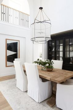 36 Chic Dining Room Design Ideas That Looks So Cute Minimalism Living, Reclaimed Wood Dining Table, Modern Farmhouse Dining Table And Chairs, Modern Dining Rooms, White Dining Room Table, Black And White Dining Room, Dining Table Lighting, Modern Dining Room Tables, Dinning Table