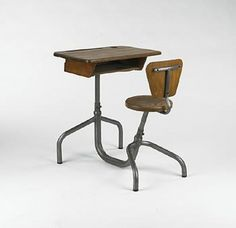 JEAN PROUVE    school desk    France, 1940's  steel, pine  24.5 w x 33 d x 31 h inches