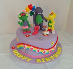 Barney and friends themed birthday cake. Design was brought in by client, by unknown cake artist.