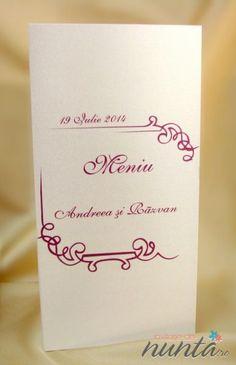 Meniu elegant, perlat argintiu cu chenar roz. Place Cards, Place Card Holders, Decor, Decoration, Decorating, Deco
