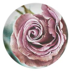 Pink Rose Gritty Vintage Dinner Plate - vintage romantic gifts ideas diy
