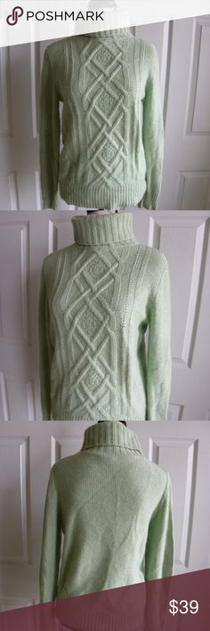 """J. CREW Women's Size M Wool Fisherman's Knit Mint J. CREW  Women's Wool Fisherman's Knit Turtle Neck Sweater  color: Mint Green Size M  Style 50553 45% viscose 23% nylon 17% wool 15% Angora Rabbit Hair   Soft and fluffy Sweater perfect for this season.  Measures: Shoulder to shoulder: 16"""" Armpit to armpit: 20"""" Shoulder to hem: 26 Sleeves length: 26 J. Crew Sweaters Cowl & Turtlenecks"""