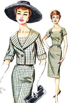 1960s Dress Pattern Butterick 2145 Square Neck Sheath Dress and Shawl Collar Jacket Womens Vintage Sewing Pattern Bust 38 Uncut