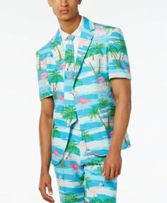 OppoSuits Men's Flaminguy Slim-Fit Tropical-Print Suit & Tie - Misc. 42