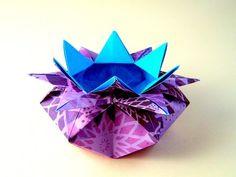 Origami Easy box – 10 Points Star Vase - Star candy box Valentine's basket - YouTube