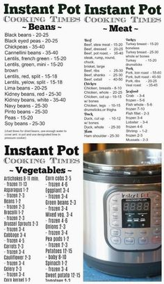 This pressure cooker time chart let's you know how long it takes to steam vegeta. This pressure cooker time chart let's you know how long it takes to steam vegetables or cook meat in your Instant Pot and it's free to print out too. Pressure Cooker Times, Power Pressure Cooker, Instant Pot Pressure Cooker, Instant Cooker, Pressure Pot, Pressure Cooker Chicken, Best Instant Pot Recipe, Instant Pot Dinner Recipes, Instant Recipes