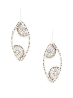 Miguel Ases Silver & Pyrite Oval Drop Earrings