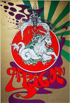 1960s zodiac capricorn psychedelic poster