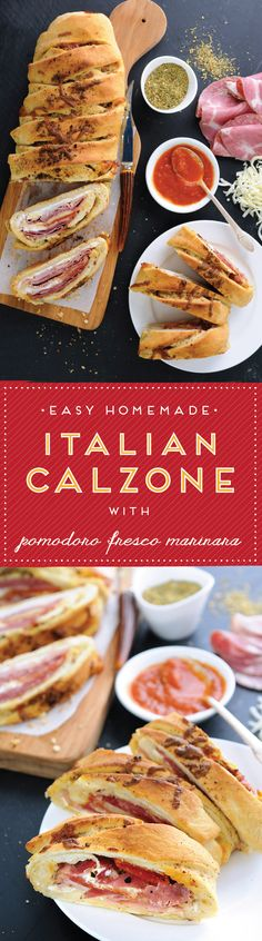 Calzone Stromboli It& an amazing pizzalike creation loaded with your favorite deli cold cuts, zesty Italian sausage, creamy cheeses and a sprinkling of spices, this superstar recipe is sure bring everyone to the table - pizza I Love Food, Good Food, Yummy Food, Tasty, Healthy Food, Italian Dishes, Italian Recipes, Italian Calzone, Stromboli Pizza