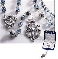 Sapphire Austrian Crystal Queen Madonna Rosary with Loreto Our Father Beads – Beattitudes Religious Gifts