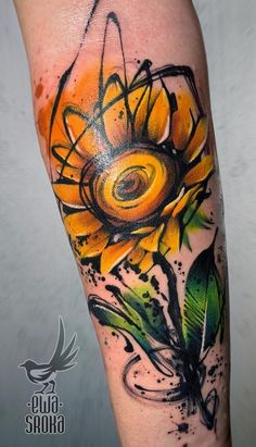 Tattoos Will Turn Your Body into a Living Canvas - watercolor sunflower tattoo © tattoo artist Ewa Sroka Ewa Sroka ❤❤❤❤❤ -Watercolor Tattoos Will Turn Your Body into a Living Canvas - watercolor sunflower tattoo © tattoo artist Ewa Sroka Ewa Sroka ❤❤❤❤❤ - Hand Tattoos, Up Tattoos, Arm Tattoo, Body Art Tattoos, Tattoo Drawings, Sleeve Tattoos, Cool Tattoos, Lyric Tattoos, Awesome Tattoos