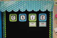 This awning is so cute. I am going to try it in my classroom. Teach On.: Cafe Awnings: How To! She used CTP's Blue & Green Zebra Border French Classroom Decor, Classroom Layout, Classroom Decor Themes, 4th Grade Classroom, Classroom Walls, Classroom Displays, School Classroom, Classroom Organization, Classroom Ideas