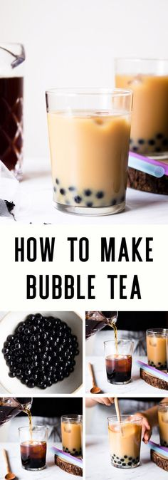 Here is a guide on how to make bubble tea! It walks you through the type of tea,… Here is a guide on how to make bubble tea! It walks you through the type of tea, milk, and tapioca balls to use for the bubble tea. Yummy Drinks, Healthy Drinks, Boba Tea Recipe, Bubble Milk Tea, Bubble Tea Balls, Milk Tea Recipes, How To Make Bubbles, Boba Drink, High Tea Food