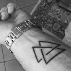 The Valknut Triangle on my forearm #valknut #triangle #tattoo #geometry