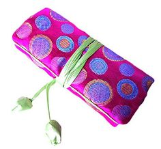 iSuperb Travel Jewelry Roll Polka Dot with Silk Embroidery Brocade Elegant and Bold Travel Jewelry Case Polka Dot Rose * Check this awesome product by going to the link at the image.