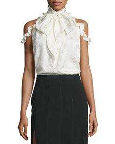 Drayton+Cold-Shoulder+Tie-Neck+Top,+Off+White+by+Rachel+Zoe+at+Neiman+Marcus.
