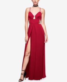 Fame and Partners Georgette High-Slit Maxi Dress  - Red 8