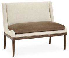 "Ashley 51"" Two-Tone Settee, Ivory/Cognac"
