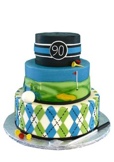 """Check out these birthday cakes for boys for one that will have your junior guest of honor singing """"Happy Birthday to Me! Golf Themed Cakes, Golf Birthday Cakes, Golf Cakes, 70 Birthday, Surprise Birthday, Pretty Cakes, Cute Cakes, Cake Boss, Cake Decorating Tips"""