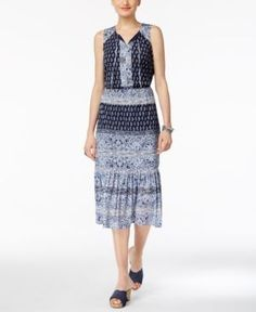 Style & Co Petite Paisley-Print Peasant Dress, Only at Macy's - Blue P/XS