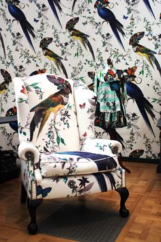 While the matching chair isn't for everyone, we can certainly upholster both the chair and the wall.