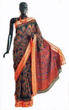 Green with Saffron Ikat Weave Design All Over in Cotton Sambalpuri Sari with Border and Pallu