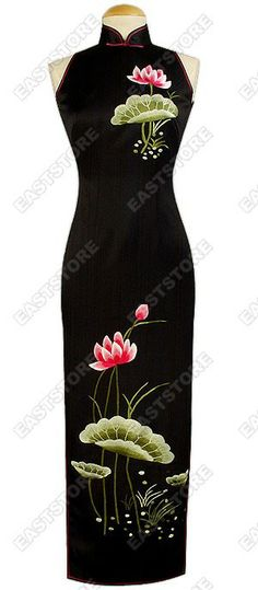 Have a touch of oriental elegance and luxury in this Blossomy Lotus Embroidered Silk Cheongsam....