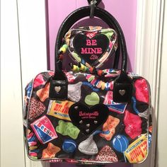 Betsey Johnson Makeup Bag The perfect Valentine's gift--to yourself! Fun n' funky and sure to get attention! Excellent condition, barely used and rare Betsey Johnson makeup/travel bag with matching smaller insert. :) Betsey Johnson Bags Cosmetic Bags & Cases