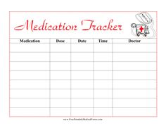 Featuring a cute cartoon picture of an ambulance and written in red letters, this printable medical form helps kids keep track of medication taken. Free to download and print