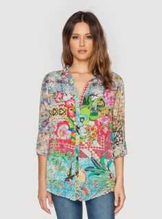 873e654c598a2e Johnny Was Clothing Plus Size Milla Basic Button Down Blouse Johnny Was  Clothing, Linens And