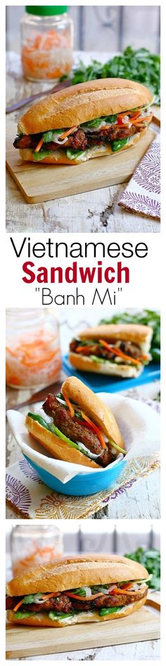 Banh Mi - Vietnamese Sandwich Banh Mi - easy, fool-proof recipe, SO quick, delicious & a zillion times better than takeout Pork Recipes, Asian Recipes, Cooking Recipes, Grilled Sandwich, Vietnamese Sandwich, Vietnamese Food, Healthy Vietnamese Recipes, Banh Mi Recipe, Cooking